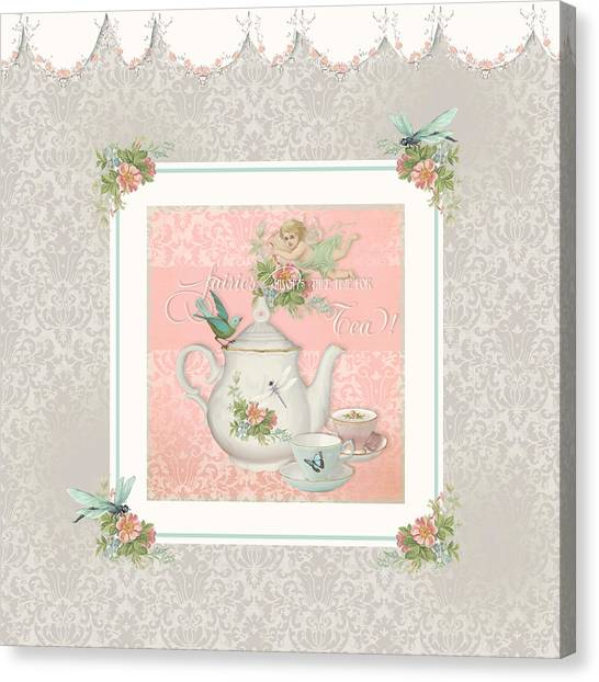 Border Wall Canvas Print - Fairy Teacups - Tea Party For Two by Audrey Jeanne Roberts