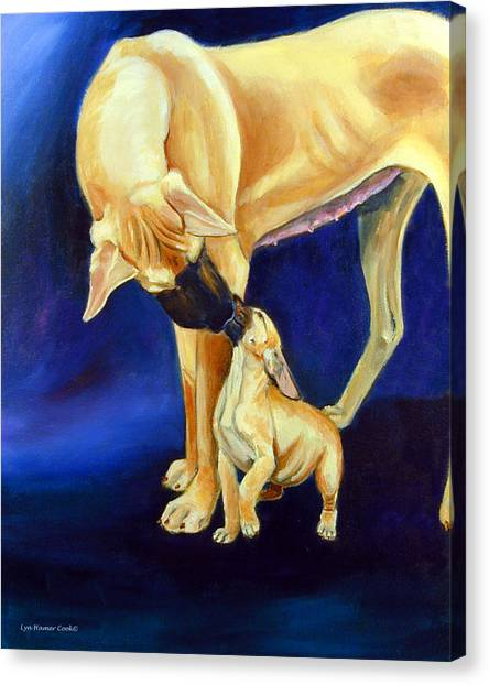 Great Danes Canvas Print - Faith And Hope Great Dane by Lyn Cook
