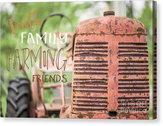 Big Red Canvas Print - Faith Family Farming Friends by Edward Fielding