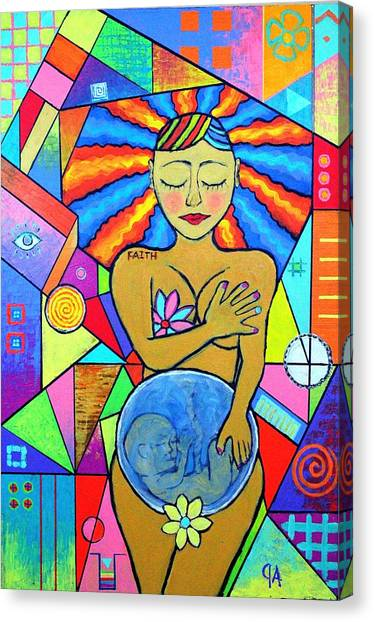 Thoughful Canvas Print - Faith, She Carries The World On Her Hips by Jeremy Aiyadurai