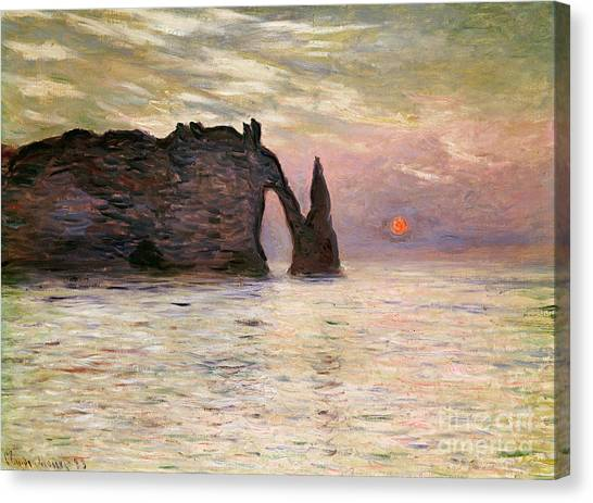 Etretat Canvas Print - Falaise Detretat by Claude Monet