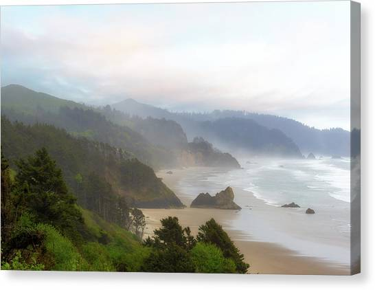 Canvas Print - Falcon And Silver Point At Oregon Coast by David Gn