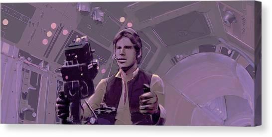Han Solo Canvas Print - Falcon Gun Turret by Kurt Ramschissel