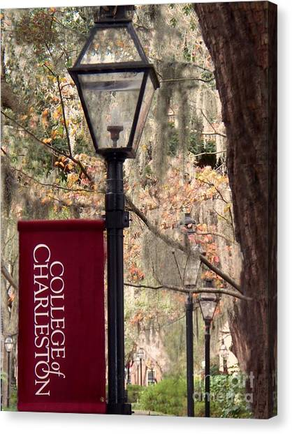 Fall At The College Of Charleston Canvas Print by Melanie Snipes