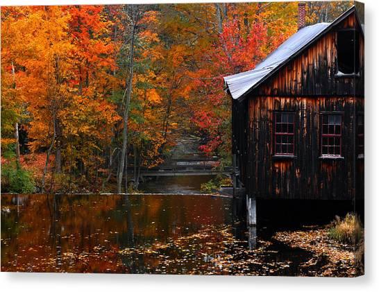 Fall Barn And River N Leverett Ma Canvas Print by Richard Danek