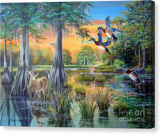 White-tailed Deer Canvas Print - Fall Bounty- Big Cypress Swamp  by Daniel Butler