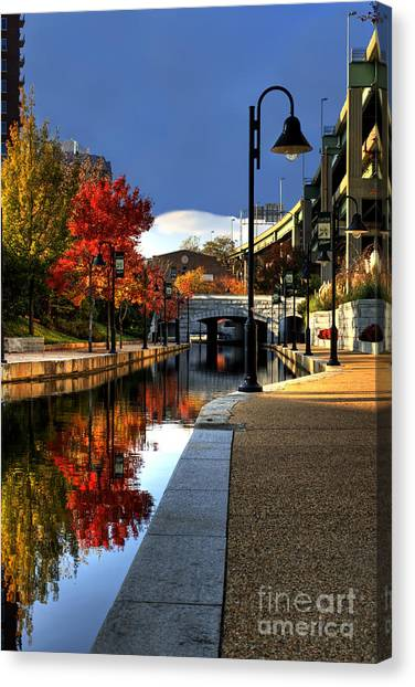 Richmond Virginia Canvas Print - Fall Colors Along The Canal by Tim Wilson