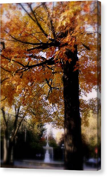 Fall Colors And Fountain Canvas Print by Martin Morehead