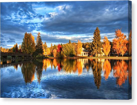 Mirror Canvas Print - Fall Colors On Mirror Pond - Bend, Oregon by John Melton