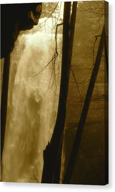 Fall Creel Falls In Sepia Canvas Print