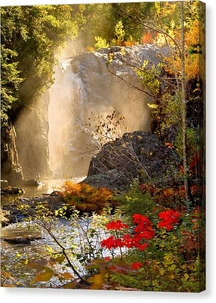 Fall Falls Mist  Dead River Falls  Marquette Mi Canvas Print