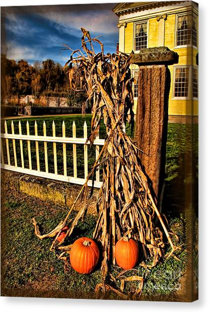Fall Fence At Hale Farm Canvas Print