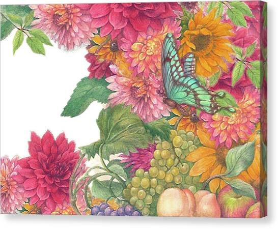Fall Florals With Illustrated Butterfly Canvas Print