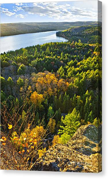 Algonquin Park Canvas Print - Fall Forest And Lake Top View by Elena Elisseeva