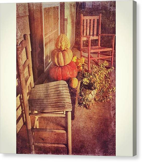 Pumpkins Canvas Print - Fall Front Porch #pumpkins #fallbeauty by Joan McCool