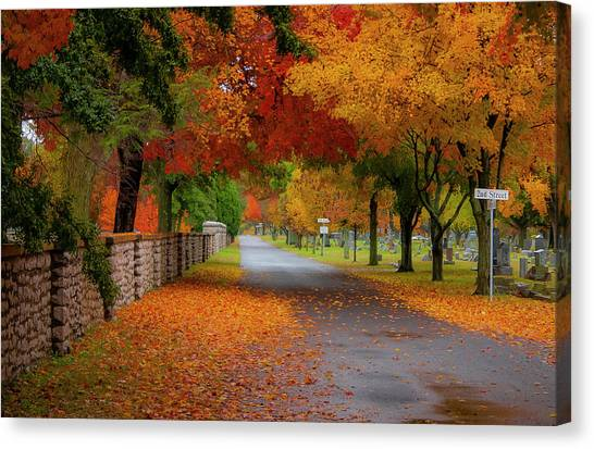 Fall In The Cemetery Canvas Print