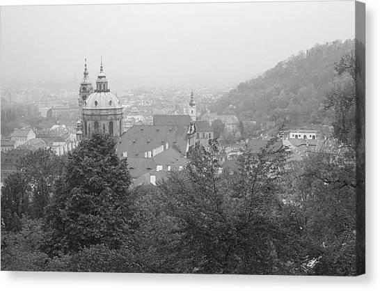 Fall Mist Surrounds St. Nicholas Church In Prague Canvas Print by John Julio