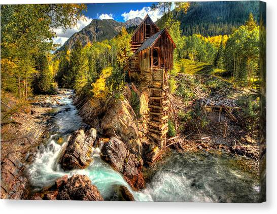 Crystal Mill Canvas Print - Fall N Mill  by Ryan Smith