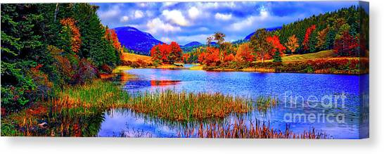 Fall On Long Pond Acadia National Park Maine  Canvas Print