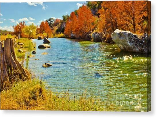 Fall On The Medina River Canvas Print