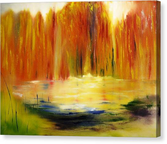 Fall Pond Canvas Print by Larry Ney  II