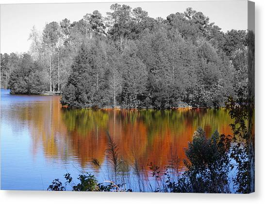 Fall Reflection Canvas Print by Don Prioleau