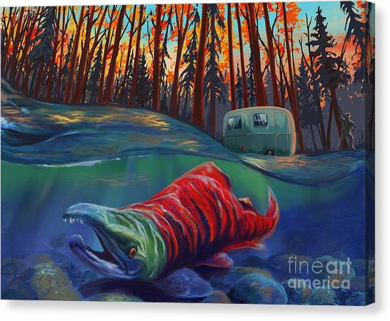 Salmon Canvas Print - Fall Salmon Fishing by Sassan Filsoof
