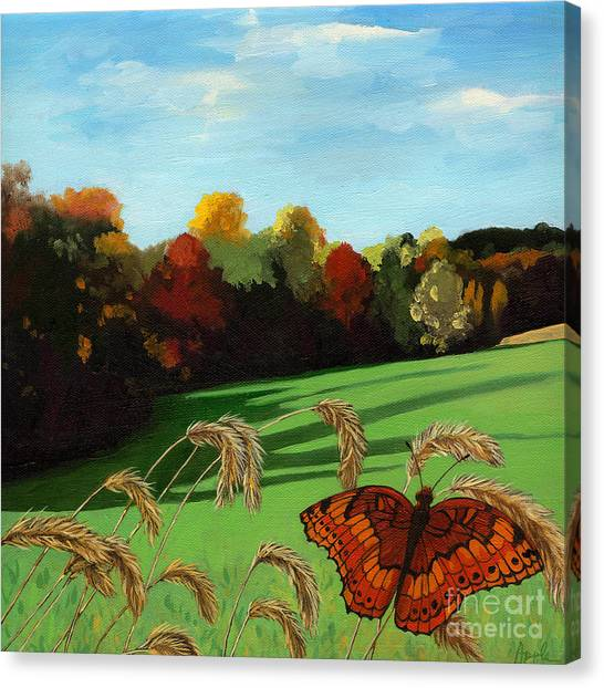 Fall Scene Of Ohio Nature Painting Canvas Print