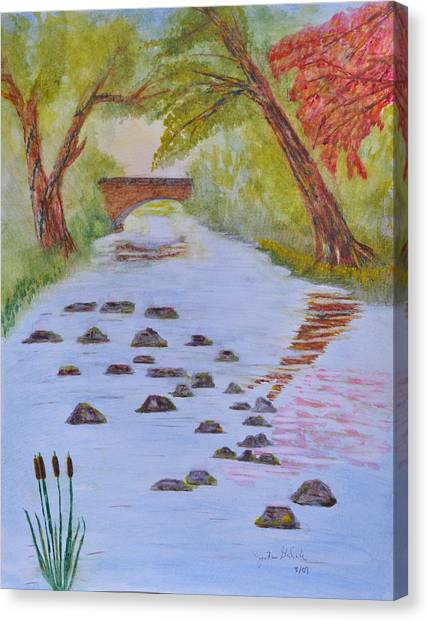 Fall Stream Land Scape Canvas Print by Jonathan Galente