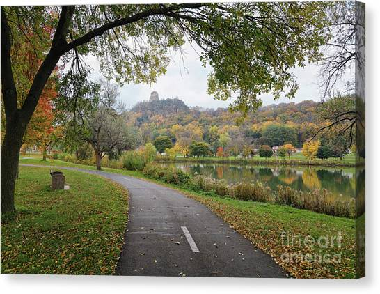 Canvas Print featuring the photograph Fall Sugarloaf With Path And Bench by Kari Yearous