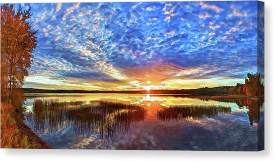 Fall Sunset At Round Lake Canvas Print
