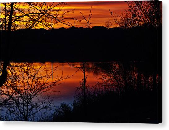 Canvas Print featuring the photograph Fall Sunset by Edward Peterson