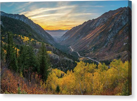Fall Sunset In Little Cottonwood Canyon Canvas Print