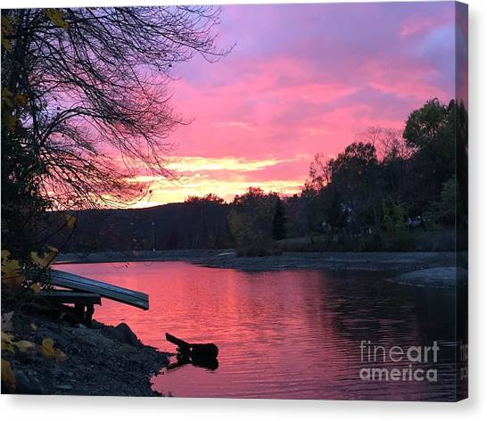 Fall Sunset On The Lake Canvas Print