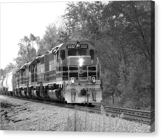Fall Train In Black And White Canvas Print