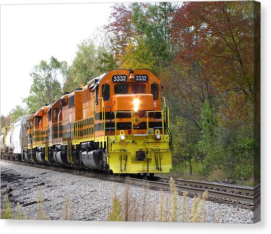 Fall Train In Color Canvas Print