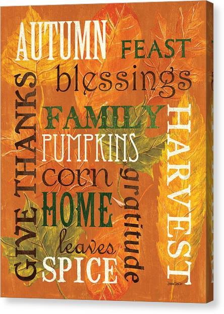Pumpkins Canvas Print - Fall Typography 1 by Debbie DeWitt