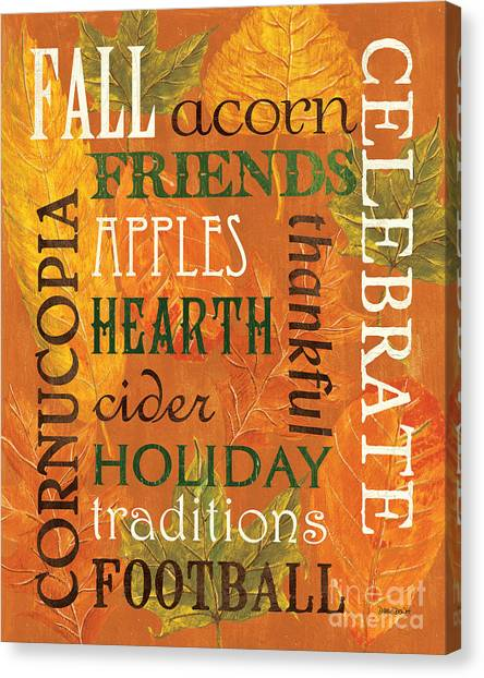 Thanksgiving Canvas Print - Fall Typography 2 by Debbie DeWitt
