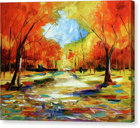 Fall Walk In The Trees Canvas Print