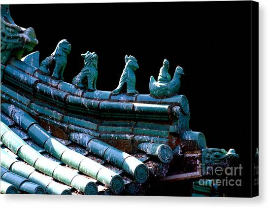 Fallen Guardians Of The Old Palace Canvas Print by Wingsdomain Art and Photography