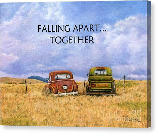Rusty Truck Canvas Print - Falling Apart Together by Sarah Batalka