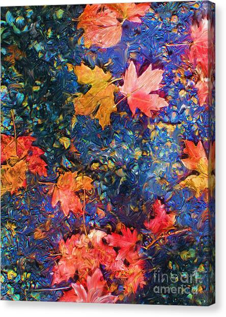 Falling Blue Leave Canvas Print by Marilyn Sholin