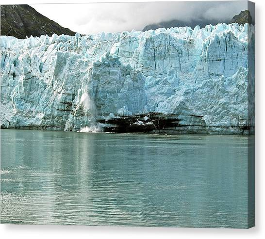 Margerie Glacier Canvas Print - Falling Ice 8419 by Michael Peychich