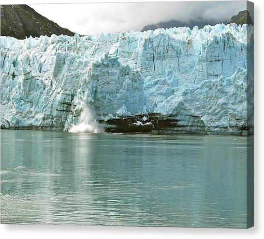 Margerie Glacier Canvas Print - Falling Ice 8421 by Michael Peychich