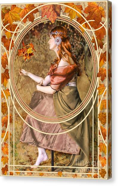 Art Nouveau Canvas Print - Falling Leaves by John Edwards