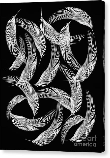 Falling White Feathers Canvas Print