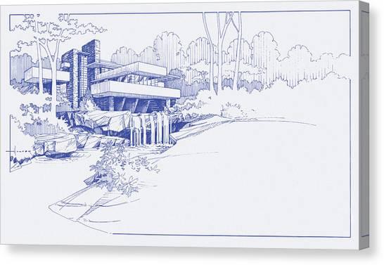 Fallingwater Blueprint Canvas Print