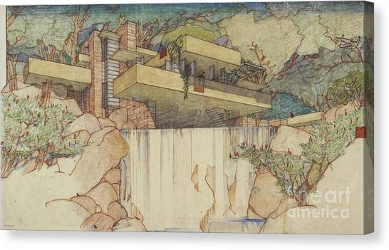 Fallingwater Pen And Ink Canvas Print
