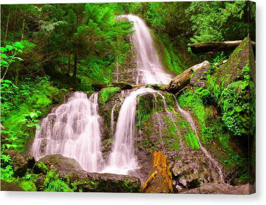 Snow Melt Canvas Print - Falls Creek  by Jeff Swan