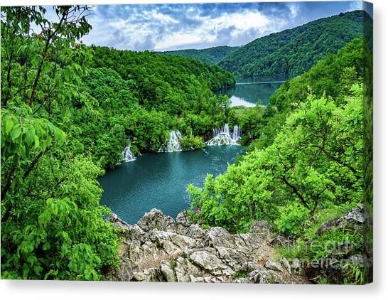 Falls From Above - Plitvice Lakes National Park, Croatia Canvas Print